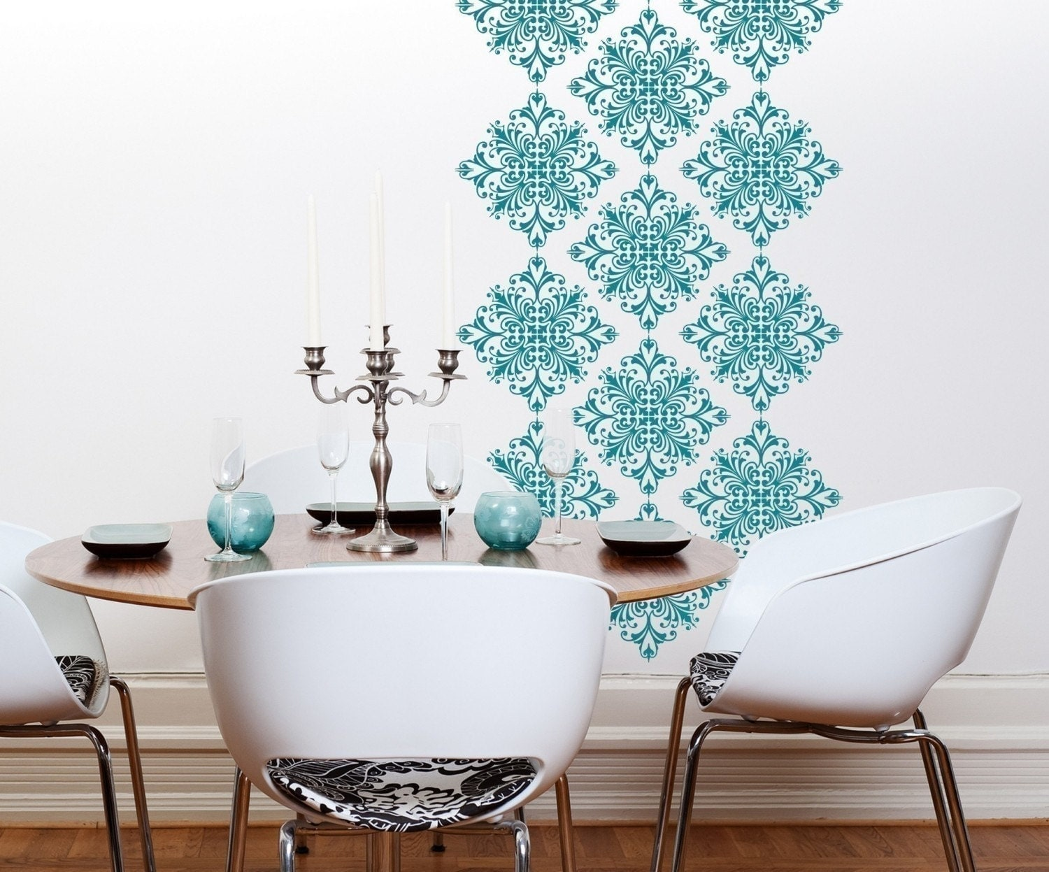 Vinyl wall decals scroll damask wall pattern 18 graphics for Vinyl wallpaper for walls