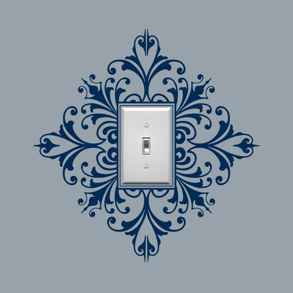 Light Switch Embellishment Vinyl Wall Decal Scroll Damask
