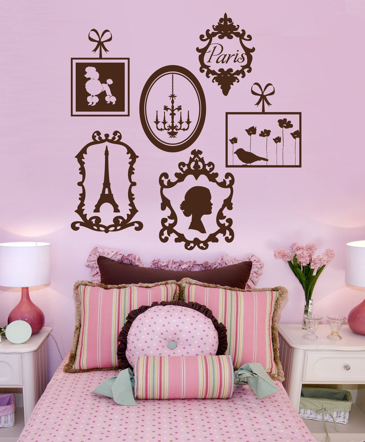 Paris Themed Bedroom Accessories Lighting For Small Bedroom Bedroom Accessories For Guys Bedroom Carpet Trends 2016: Paris Vinyl Wall Decals French Frame Collage Graphics