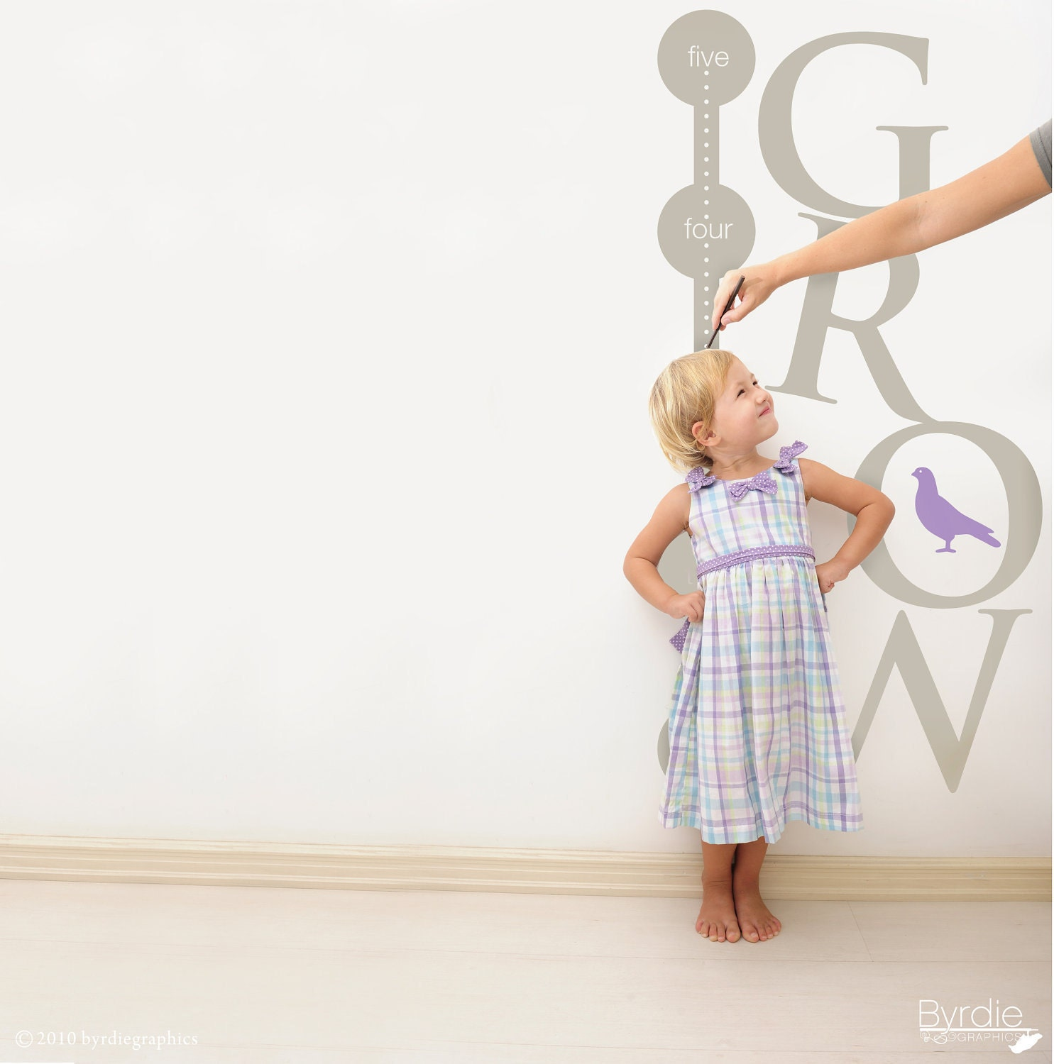Nursery Décor For The Grown Ups: Growth Chart Vinyl Wall Decal GROW Children's Growth