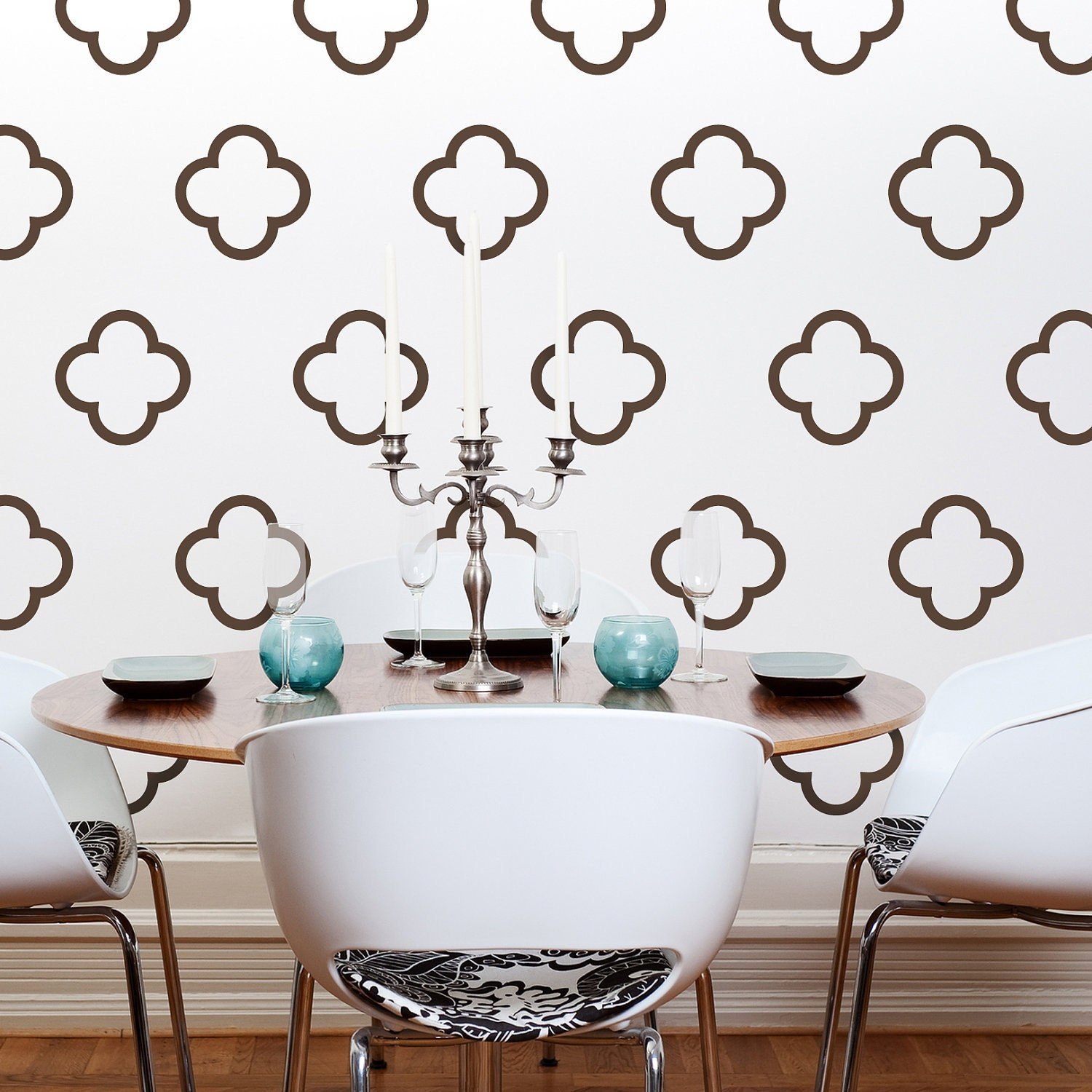 Moroccan quatrefoil vinyl wall decals moroccan bubbles 30 for Wallpaper on walls home decor furnishings