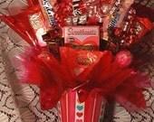 Heart Stripe Valentine Candy Arrangement, Valentine Gift, Valentine Table Arrangement