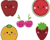 Kawaii Fruit Machine Embroidery Set of 5 Designs size 4 x 4 hus xxx jef vp3 pes