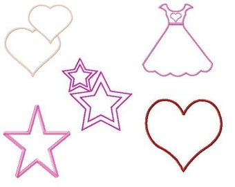 Applique Girls Machine Embroidery Set of 5 Designs size 4 x 4