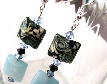 Charming Green, Ivory ,Black Lampwork Drop Earrings