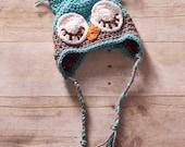 Custom Crochet Sleepy Owl Earflap Beanie