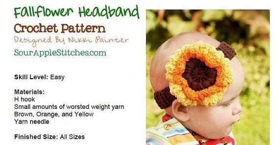 Fallflower Headband PDF Crochet Pattern