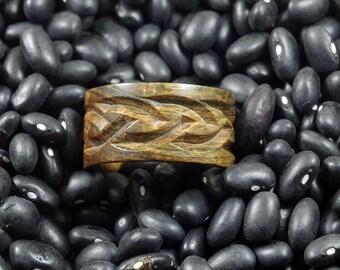 Engraved Celtic knot Lignum Vitae Ring