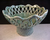 Ceramics, Art Pottery, Coil Pot, Home Decor, Turquoise Green, Candleholder, Candy Bowl, Fruit Bowl, Centerpiece, Planter, Footed Tray