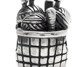 Knitting Basket Bead fits All brands of add a bead bracelets and necklaces