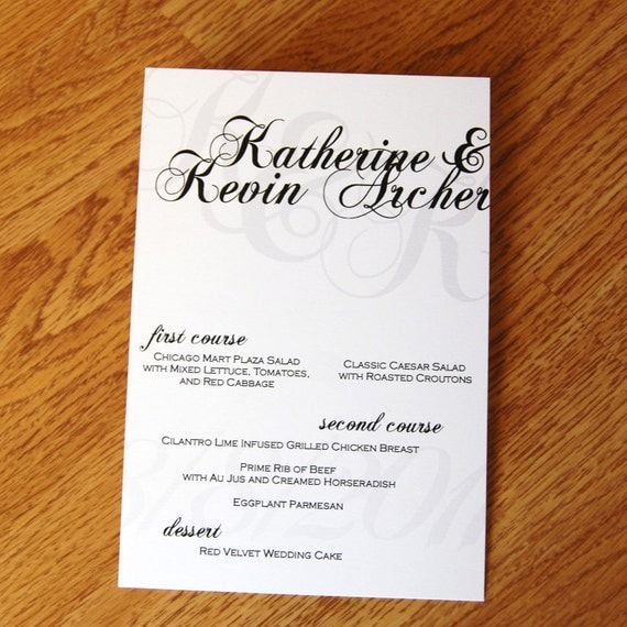 "Calligraphy Design - 5x7"" Wedding Menu"