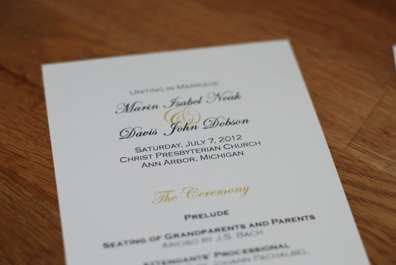 Elegant Text Design Tea Length Flat Wedding Programs, Double Sided - Church Bulletin