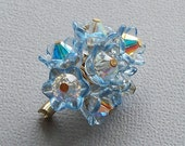 CLOSING  SALE - Blue Bonnet Swarovski Crystal Brooch