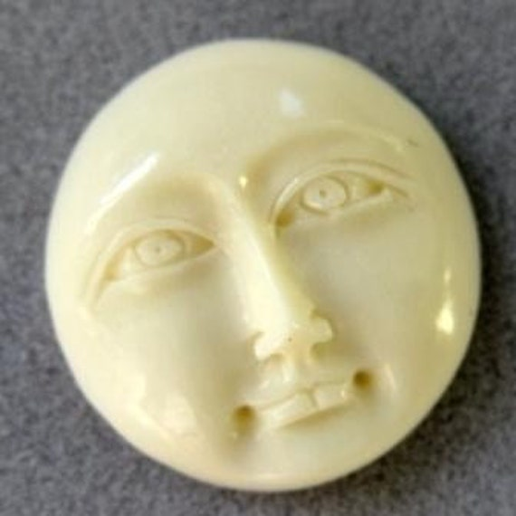 RESERVED for haddi Carved Cow Bone Moon Face Cabachons 16x5mm 5 pcs