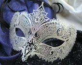 Venetian Carnevale Mask/Mardi Gras/Halloween Mask Embellished with Rhinestones and Glitter