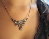 Antique Sterling Silver and Marcesite Floral Necklace