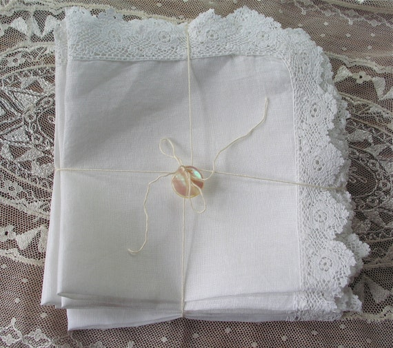White Linen and Lace Napkins Set of 8