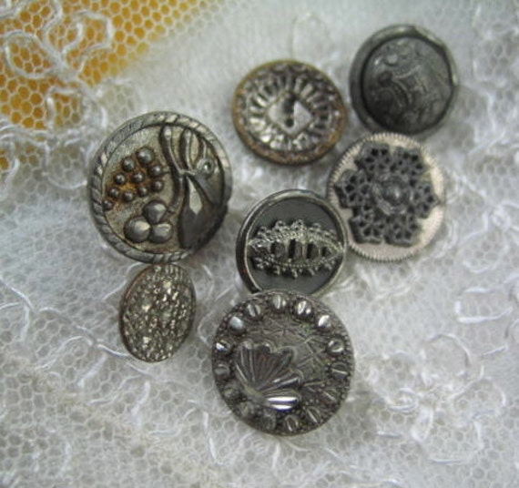 Silver Metal Buttons Collection of 7 Civil War Era