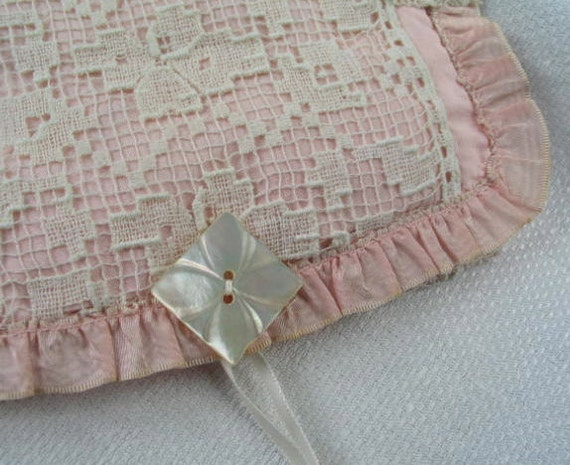 Vintage Handkerchief Case in Pink Moire and Lace OOAK. SALE