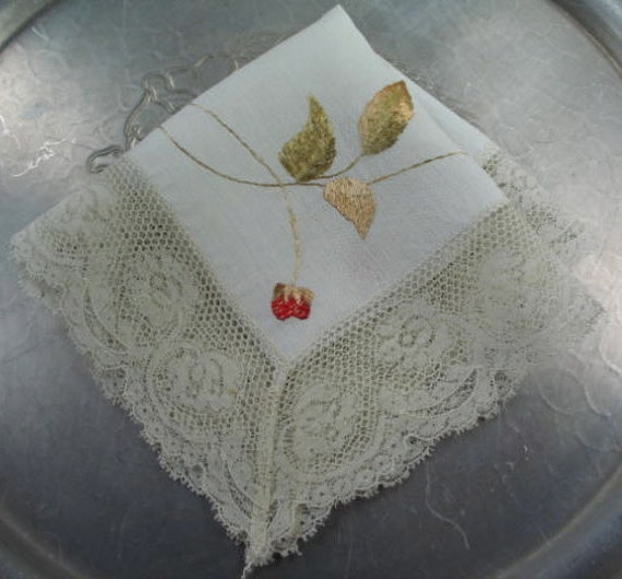Handmade Linen Handkerchief OOAK with Embroidered Strawberries and  Vintage Lace