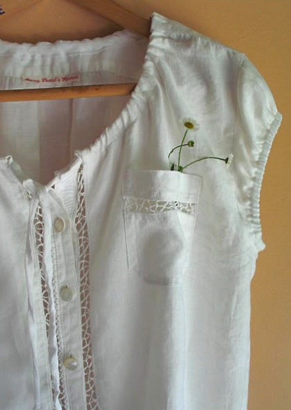 White Linen Peasant Top Upcycled with Vintage Buttons and Lace Size Large