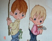 FREE SHIPPING - Cross-Stitched Precious Moments Fishing Pals