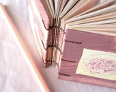 Dusty Rose - flower upcycle recycle notebook sketch sketchbook journal mixed paper cream pink berry white frost tiny mini small dogwood