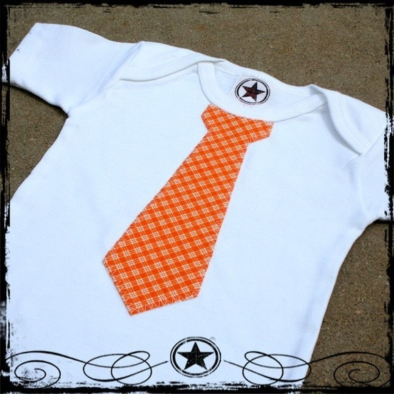 12-18 Month -- Orange Plaid Tie - White short sleeve Bodysuit