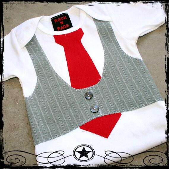 12-18M -- Gray striped Vest -- Red Tie -- White Short Sleeve Bodysuit