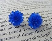 chrysanthemum earrings- BLUE