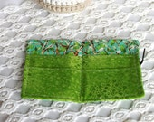 Tea Wallet.  Condiment, Gift Card, Or Business Card Wallet in Bright Green Trees. For Her. Stocking Stuffer. Woods. Forest. Coffee.