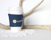 Spring Sale! 50% off. Coffee Cozy. For Him. Antler Button on Wool Fabric. Denim Blue. Winter Blue. Men. Unisex. For Her.