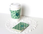 Coffee Cozy and Tea Wallet Set.  Teal Geometric. Gift Card Holder. Business Card Holder. Mother's Day Gift Idea. For Her. For Him. Unisex.