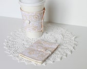 Coffee Cozy and Tea Wallet Set.  Wedding Sparkles. Gift Card Holder. Business Card Holder. Gift Idea. For Her. White Floral.