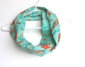 Cotton Infinity Scarf.  Circle Cowl Scarf.  Spring Flowers. Bird. Aqua Blue And Red. For Her. Women Fashion. Lightweight. Preppy. Cockatoo