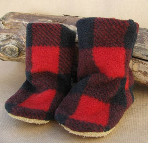 Leather Soled Fleece Baby Booties In Red And Black Plaid