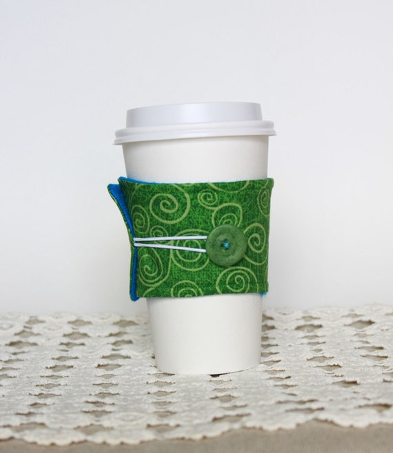 Coffee Cozy.  Reusable Earth Friendly. Green Swirls and Blue Eco Felt. Tea Cozy. For Her. For Him Stocking Stuffer. Christmas Green.