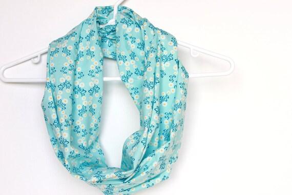 Organic Cotton Infinity Scarf.  Circle Cowl Scarf.  Spring Flowers. Aqua Blue. For Her. Women Fashion. Lightweight Scarf. Preppy. Eco