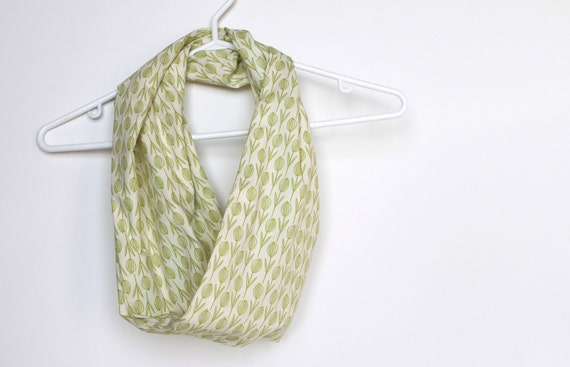 Infinity Scarf.  Circle Cowl Scarf.  Thyme Pods. For Her. Cotton. Women Fashion. Garden. Herbs. Sage Green. Birds. Preppy