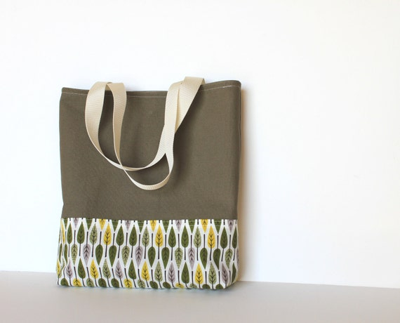 Simple Canvas Tote Bag. Olive Green. Leaves. For Her. For Him. Unisex. Purse. Carry All. Heavy Duty. Book Bag. Autumn Fashion.