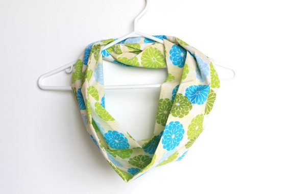 Infinity Scarf.  Circle Cowl Scarf.  Bright Summer Florals. For Her. Cotton. Women Fashion. Garden. Srping Fashion. Blue & Lime Green.