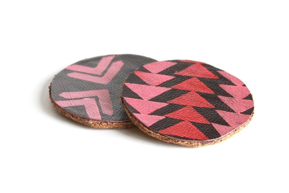 Leather and Cork Hand Stamped Coasters.  Tribal Pattern in Pink Red and Coral.  Mug Coaster. Home Decor. Shimmer.