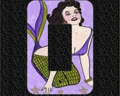 Rocker-Dimmer Light Switch Plate Cover- Brunette Diva Mermaid