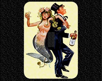 Mermaid and Man in Tux Retro Light Switch Plate Covers Toggle/Rocker/Outlet