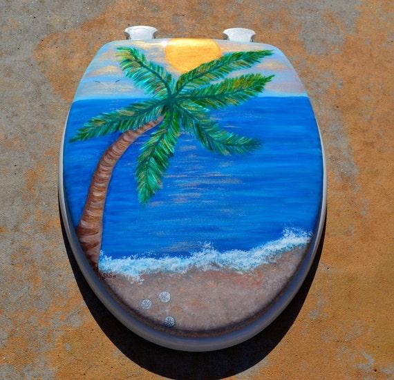 Palm Tree Elongated Toilet Seat