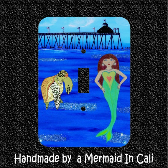 Light Switch Plate Cover Mermaid And Sea Turtle By