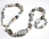 Misty Grey, semiprecious stone necklace
