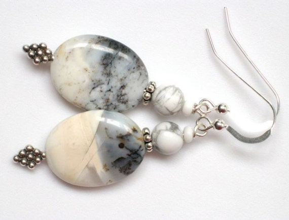 Overcast, sterling and stone earrings