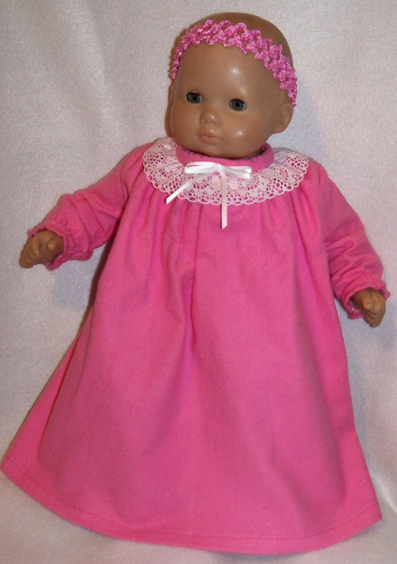 Bitty Baby  Pink Gown with White Lace Ruffle Collar & Headband