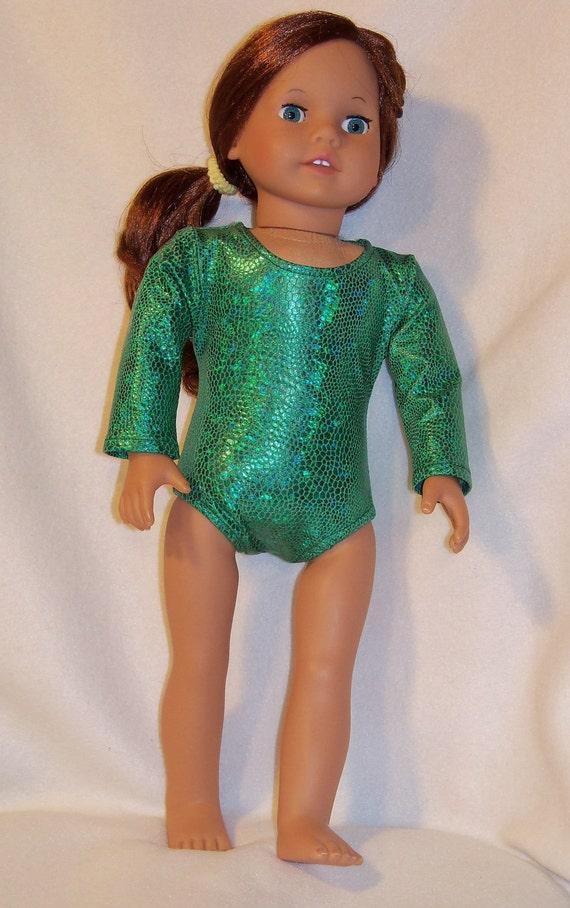 SALE/ 18 inch Doll Green Snakeskin Gymnastic Performance Leotard